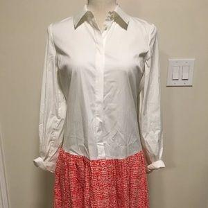 DVF white/pink shirtdress, size 2